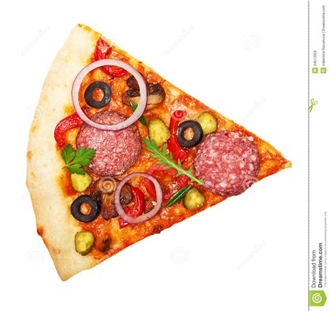 Pizza slice isolated stock image