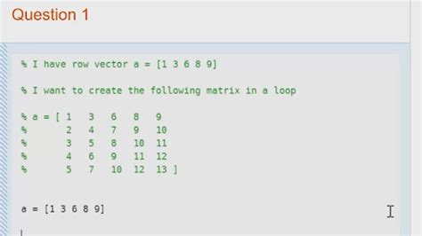 How to Make a Matrix in a Loop in MATLAB - Video - MATLAB