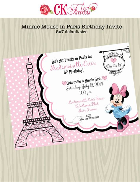 Minnie Mouse in Paris Birthday Invite by ckfireboots on