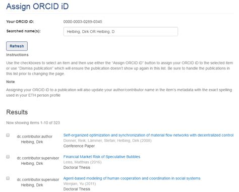 Assign ORCID iD - Manual Research Collection - Documentation
