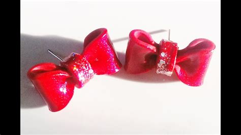 Super Easy Polymer Clay Bow Earring Tutorial - YouTube