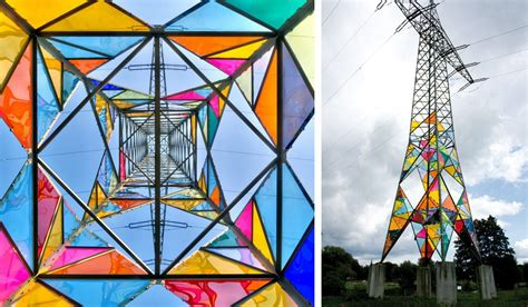 Art Students Transform an Electrical Tower into a Stained