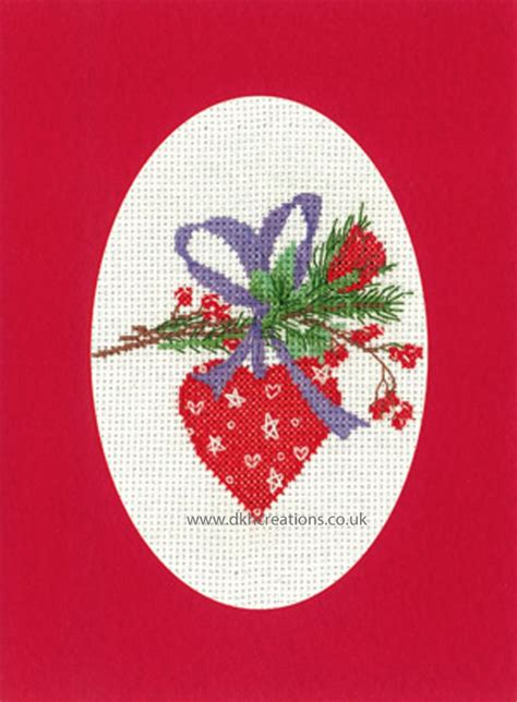 Sue Hill Christmas Heart Bauble Greeting Card Red Cross
